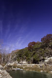 North Fork Autumn Vertical. Autumn along the North Fork of the Guadalupe River near Hunt, Texas Stock Photos