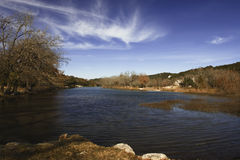 North Fork Cove 1. Quiet cove and autumn colors of the North Fork of the Guadalupe River near Hunt, Texas Stock Image