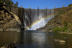 North Fork Dam with Rainbow 2. Beautiful North Fork Dam in CA with natural rainbow in the waterfall (American River Stock Photos