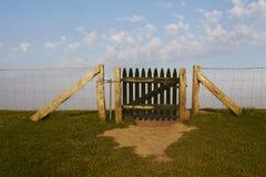 North Frisia - Dike and gate. A gate at the dike near Luettmoorsiel (Germeny, North Sea Stock Photography