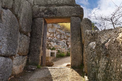 The North Gate in ancient Mycenae, Greece. The North Gate. The archaeological sites of Mycenae and Tiryns have been inscribed upon the World Heritage List of Royalty Free Stock Photos