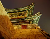 North Gate. Hwaseong Fortress, South Korea. Night shot. Hwaseong Fortress in Suwon, South Korea  is an UNESCO world heritage site Royalty Free Stock Photos
