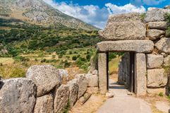 The north gate of the palace of Mycenae royalty free stock photo
