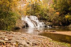 North Georgia Water Fall. In Autumn Stock Photography