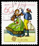 North German Dancers, Europa C.E.P.T. 1981 - Folklore serie, circa 1981. MOSCOW, RUSSIA - FEBRUARY 21, 2019: A stamp printed in Germany, Republic shows North stock photography