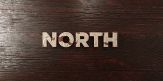 North - grungy wooden headline on Maple - 3D rendered royalty free stock image. This image can be used for an online website banner ad or a print postcard stock illustration