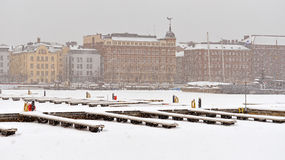 North Harbour is hardly visible through snow wall Royalty Free Stock Photography