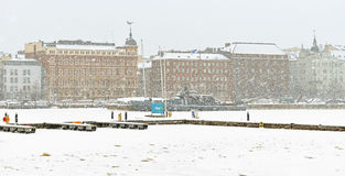 Free North Harbour Is Hardly Visible Through Snow Wall. Winter City Royalty Free Stock Image - 65893716