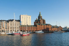 North harbour and Uspenski cathedral Helsinki Royalty Free Stock Photography