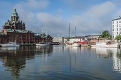 North harbour with Uspenski cathedral Helsinki Royalty Free Stock Images