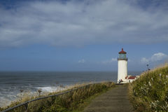 North Head Lighthouse. A path leading around a hill to a lighthouse Royalty Free Stock Photography