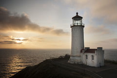 North Head Lighthouse at Cape Disappointment in sunset Royalty Free Stock Image