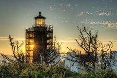 North Head Lighthouse at Sunset Stock Image