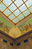 North Hearing Room Corner in Wisconsin Capitol. Architectural detail of stain glass ceiling and wall in north hearing room at wisconsin state capitol building royalty free stock photos