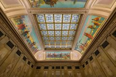 North Hearing Room stained glass ceiling. Stained glass ceiling of the North Hearing Room in the Wisconsin State Capitol in Madison, Wisconsin Royalty Free Stock Photo