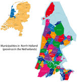 North Holland - province of the Netherlands. Administrative division of the Netherlands. Map of North Holland with municipalities Stock Photo
