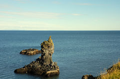 North of Iceland. Rocky coast on North seashore of Iceland Royalty Free Stock Images