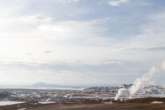 North Iceland landscape. With a geothermal power station Royalty Free Stock Images