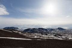 North Iceland wilderness. Wonderful winter landscape with volcano craters and lava fields in Myvatn, north Iceland Royalty Free Stock Photos