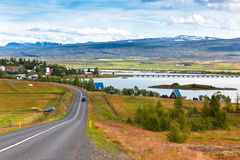 North Icelandic Landscape: View of Fellabaer Village Royalty Free Stock Photo