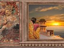 North of India. Woman on a window near Ganges in the sunset Stock Images