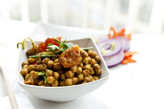 North Indian Dish of chickpeas. Chickpeas cooked spicy in indian style Royalty Free Stock Photo
