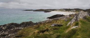 North Ireland coastline during rainy day. Under overcast royalty free stock photos