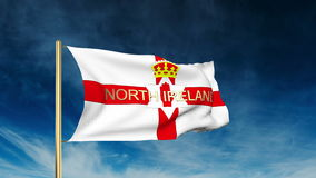 North Ireland flag slider style with title. Waving stock footage
