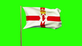 North Ireland flag waving in the wind. Green stock footage