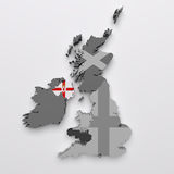 North Ireland map and flag Stock Images