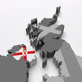 North Ireland map and flag Royalty Free Stock Images