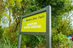 NORTH ISLAND, NEW ZEALAND- MAY 16, 2017: An informative sign of Arapuni Bridge over a Hydroelectric Power Station on. Waikato river, Arapuni, New Zealand Stock Image