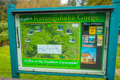 NORTH ISLAND, NEW ZEALAND- MAY 16, 2017: An informative sign of Karangahake Gorge, in north island, in New Zealand.  Royalty Free Stock Photography