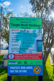 NORTH ISLAND, NEW ZEALAND- MAY 18, 2017: An informative sign of Taupo Boat Harbour, boat ramp located at Taupo,New Stock Photography