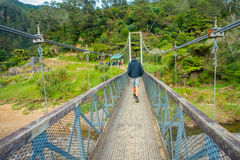 NORTH ISLAND, NEW ZEALAND- MAY 16, 2017: Unidentified man walking through the Bridge to cross the river to visit Stock Image