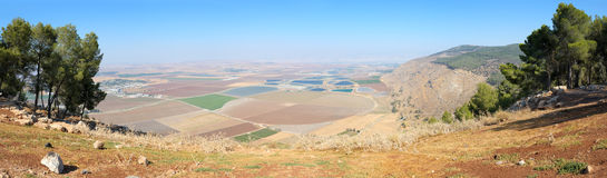 In the north of Israel. Tilled fields and mountains in the north of Israel, in Galilee Stock Images