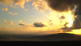 North israel mountain landscape sunset stock video footage