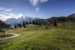 North Italian mountain landscape - Trentino alto Adige. Mountain path to the resort stock photos