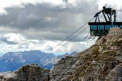 North Italian mountain landscape - Trentino alto Adige. Skilift on top of the mountain stock image