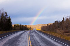 North Klondike Highway Yukon Canada fall rainbow Royalty Free Stock Photos