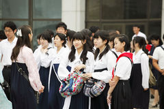 North korea 2011. These female students are Koreans in Japan,they are overseas Koreans.They just attended a performance commemorating Kim Il Sung Royalty Free Stock Photography