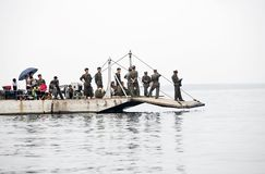 North korea 2011. Some North Korean soldiers patrolling on the boat.Here is the Sino-North Korean frontier Stock Photography