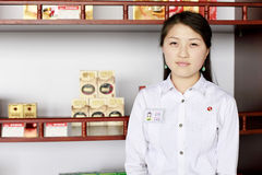 North korea 2011. She is a duty free shop attendant in the North Korean Customs Stock Photography