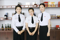 North korea 2011. They are duty free shop attendants in the North Korean Customs Stock Photo