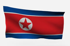 North Korea. 3d flag isolated on white background Royalty Free Stock Photos