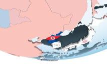 North Korea with flag on globe. North Korea on bright political globe with embedded flag. 3D illustration vector illustration