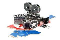 North Korea cinematography, film industry concept. 3D rendering. Isolated on white background Stock Photo