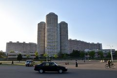 North Korea city Pyongyang street scene Stock Photography