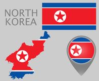 North Korea flag, map and map pointer vector illustration