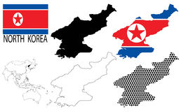 North Korea - Contour maps, National flag and Asia map vector Stock Photo